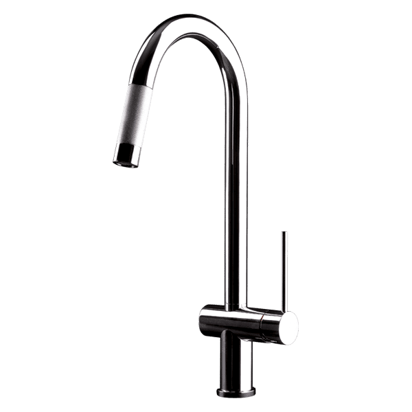 Gessi oxygene-hi-tech Oxygene Hi-Tech Gooseneck Sink Mixer with Pull-Out Dual Spray Kitchen Taps & Mixers