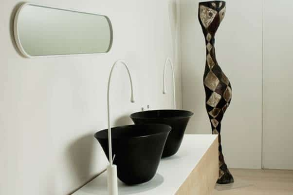 39153 Gessi Goccia Mirror 360x900mm | 39134 Gessi Goccia Black Washbasin | 33609 Gessi Goccia Basin Mixer with Spout White